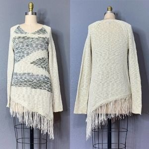 ⬇️$30 ABSOLUTELY FAMOUS Loose Knit Fringe Sweater